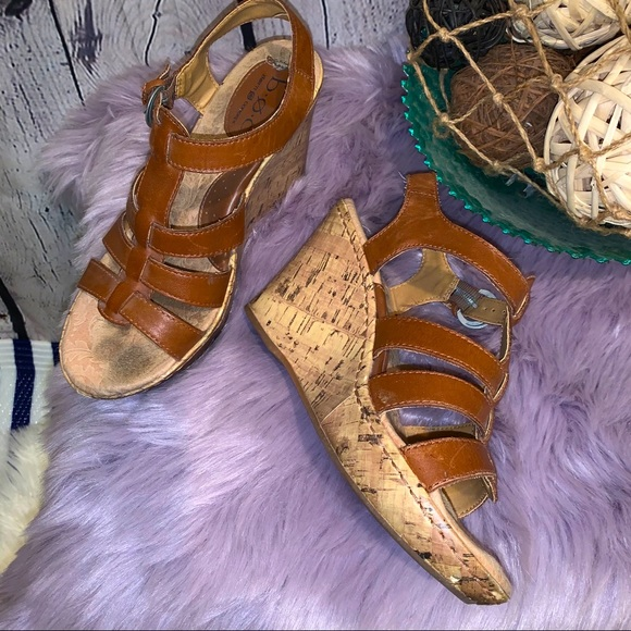 Boc brown leather cork wedge sandals size 7